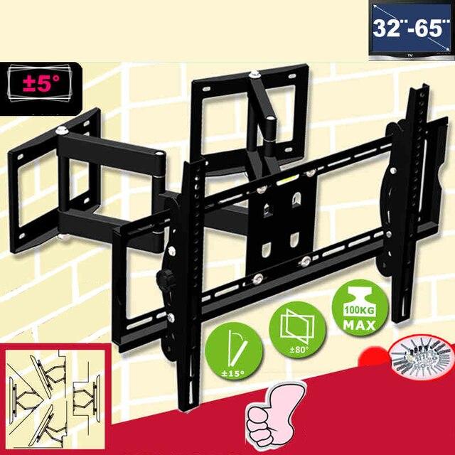 """32 65 """"الثقيلة جدار الزاوية LED تلفاز LCD جبل مرنة الحركة الكاملة التلفزيون سوينغ الذراع قوس سقف جبل تحميل 100kgs em522mt"""