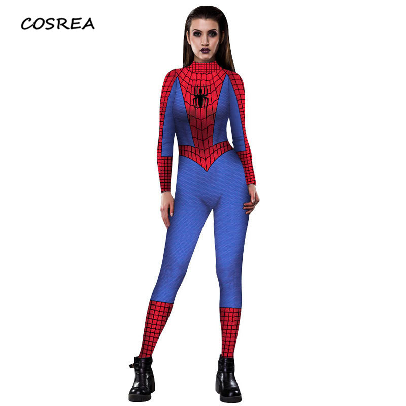 Halloween Women Spiderman Venom Leotard Costumes Super Hero Spider Woman Venom Cosplay Fancy Dress Outfits Jumpsuits Uniform