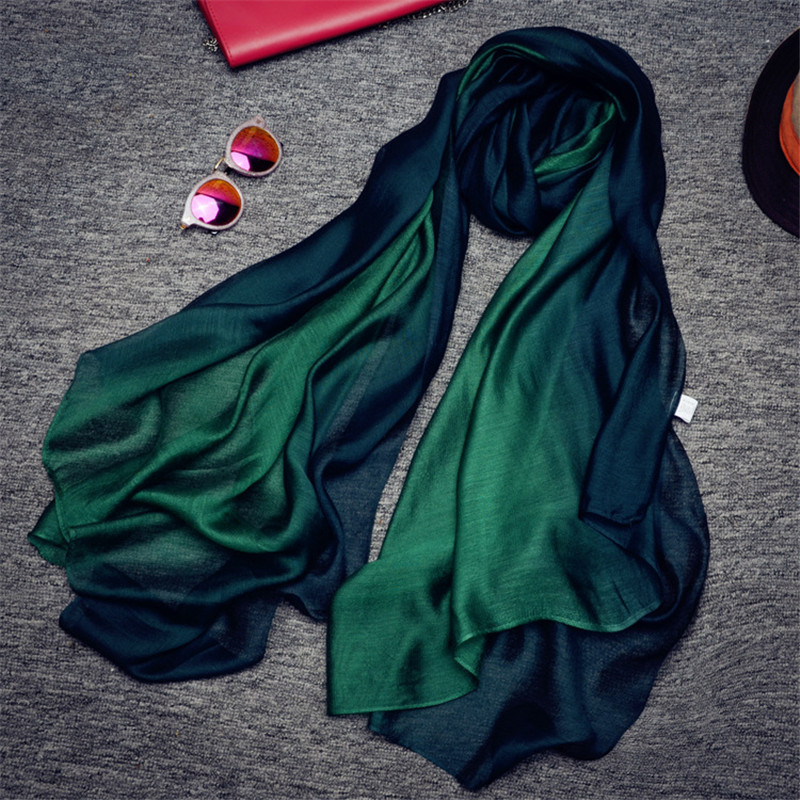 CoolCheer New Arrival Nice Scarves & Wraps Silk Scarf Natural Silkes Gradient Color Organza Woman Ladies Spring Neckerchief