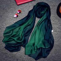 Nueva llegada de CoolCheer bufandas y envolturas bonitas bufanda de seda Natural de seda gradiente Color Organza mujer damas primavera pañuelo