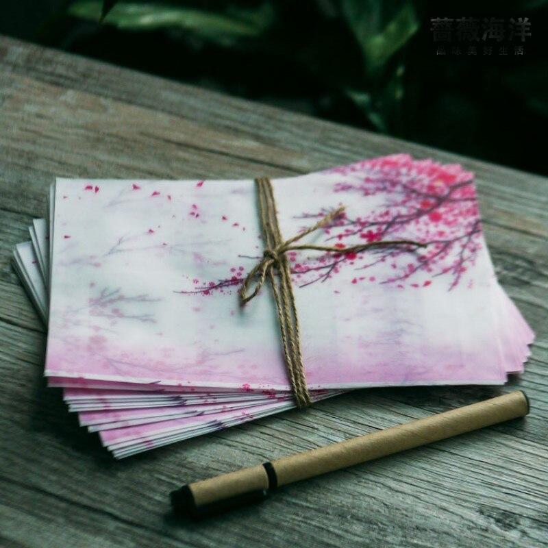 5pcs/lot pink Japan cherry sakura blossom painting design artificial parchment paper envelope (size for post card)