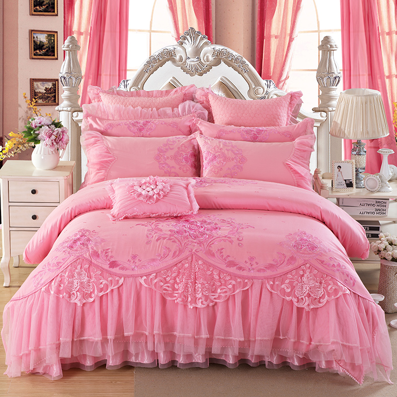 8/10Pcs Luxury Pink Color King Queen Size Royal Bedding Set  Embroidery Stain Jacquard Wedding Bed set Duvet Cover Bed Spread8/10Pcs Luxury Pink Color King Queen Size Royal Bedding Set  Embroidery Stain Jacquard Wedding Bed set Duvet Cover Bed Spread