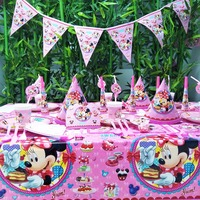 78pcs/set Minnie Mouse Girls Kids Birthday Party Decoration Cartoon Mickey Event Party Supplies Baby Birthday Party Pack