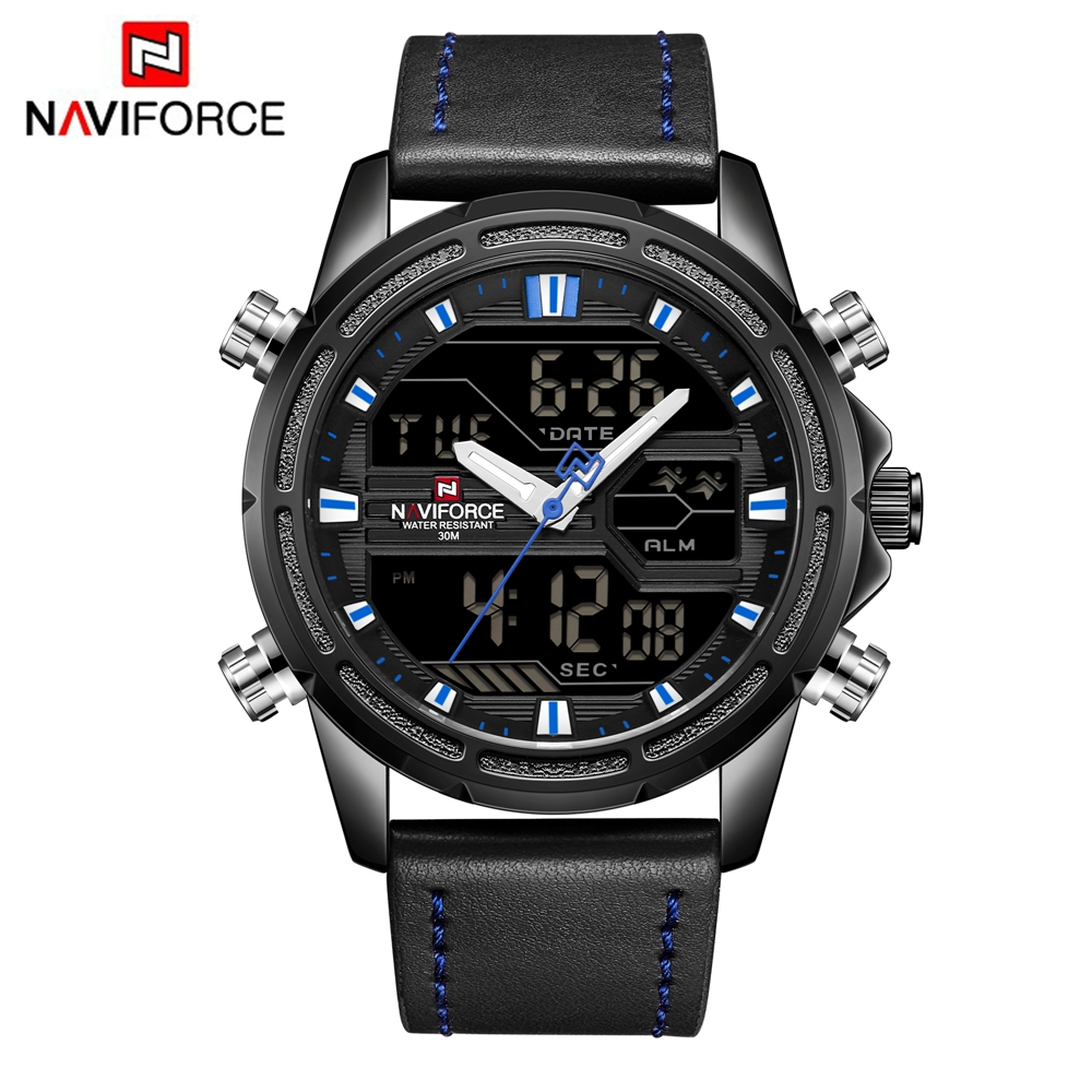 NAVIFORCE Waterproof Watch Men Sport Japanese Quartz Dual Display Man Watches Digital LED Digital Analog Leather Wristwatches replacement projector original 280 watts p vip lamp fit for benq 5j jea05 001 mh741 projector lamp