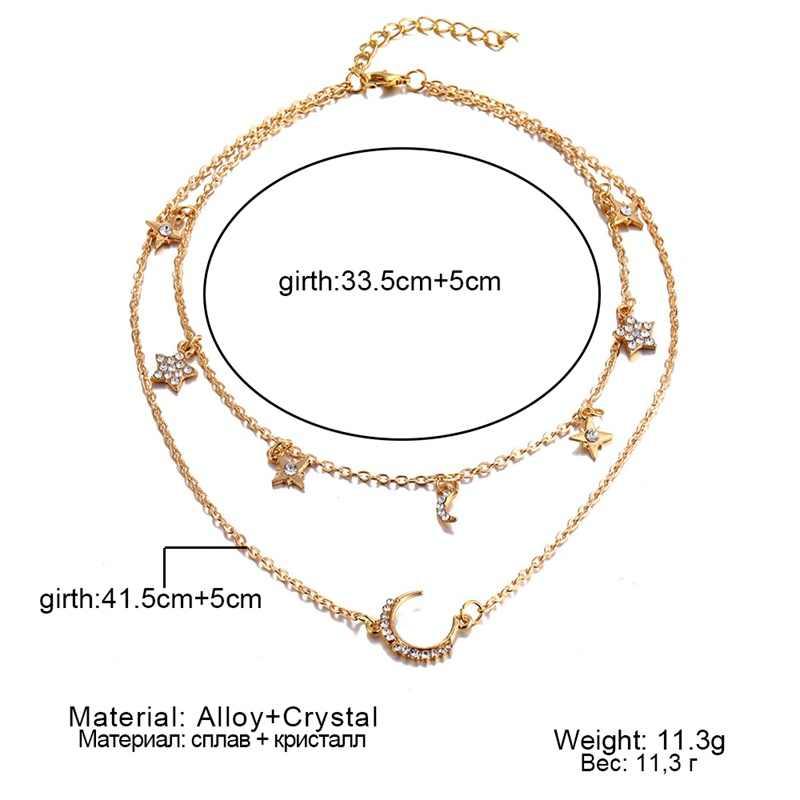 2019 Vintage wielowarstwowe złoto naszyjniki dla kobiet moda księżyc wisiorek w kształcie gwiazdy Crystal Chain naszyjniki i Boho Choker biżuteria