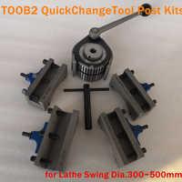 TOOB2 Lathe Swing Dia. 300~500mm Quick Change Tool QCT Post Turret Kits include 1pcs tool post+4pcs Tool Holders