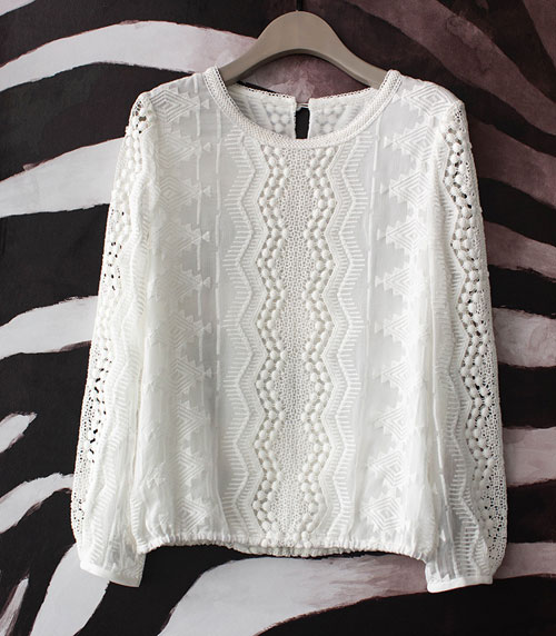 Cross Stitch Hollow Out Ruffles o Neck White Blouse Pearl Button Women Shirts Womens Tops And
