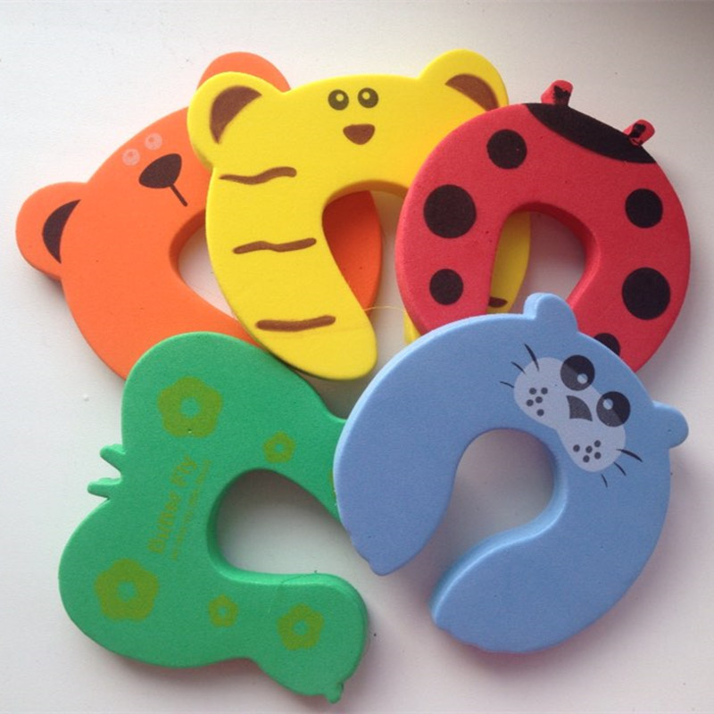Купить с кэшбэком 10pcs Kids Baby Cartoon Animal Jammers Stop Edge & Corner Guards Door Stopper Holder lock Safety Finger Protector
