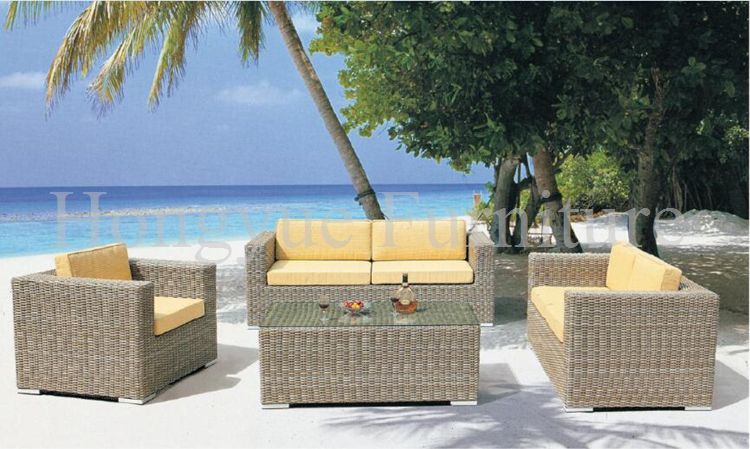 Patio Furnitures | Wicker patio sofa set furniture with yellow cushions