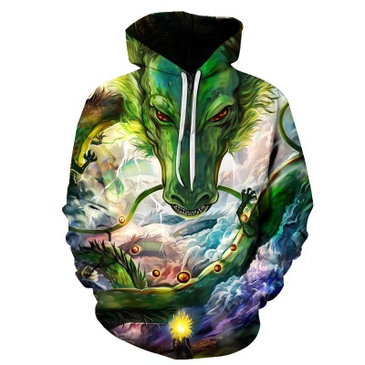 2019 Hot Fashion Hoodies Men/women  Print Green Dragon 3d Sweatshirts Hooded Unisex Pullovers