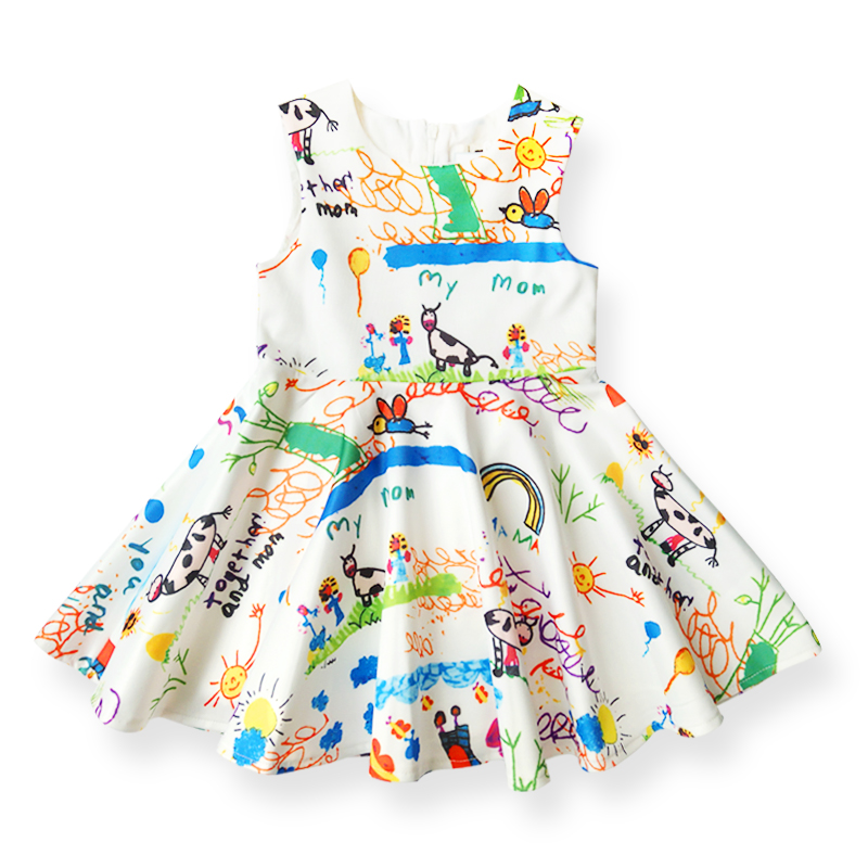 Hot Sale Summer Girls Dress Graffiti Pattern Design Kids Dresses Children's Clothing Brand Princess Dress for Girl Clothes 3-12Y hot sale open front geometry pattern batwing winter loose cloak coat poncho cape for women