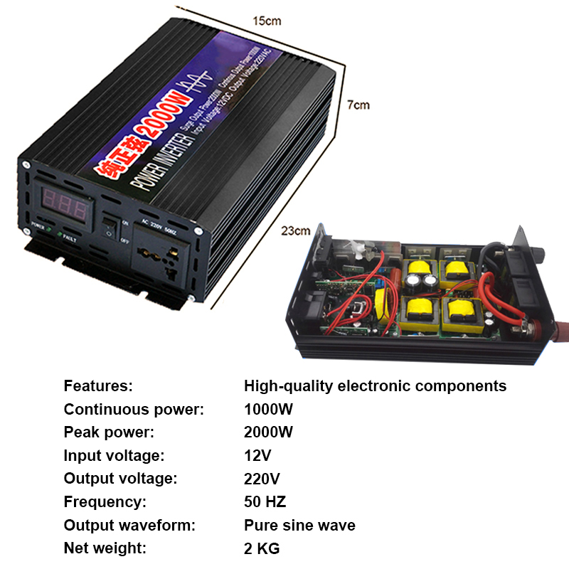 Image 2 - 4000W 2000W Car Inverter DC12V To AC220V Pure Sine Wave Car Portable Inverters Voltage Converter For Home Cars Auto Accessories-in Car Inverters from Automobiles & Motorcycles