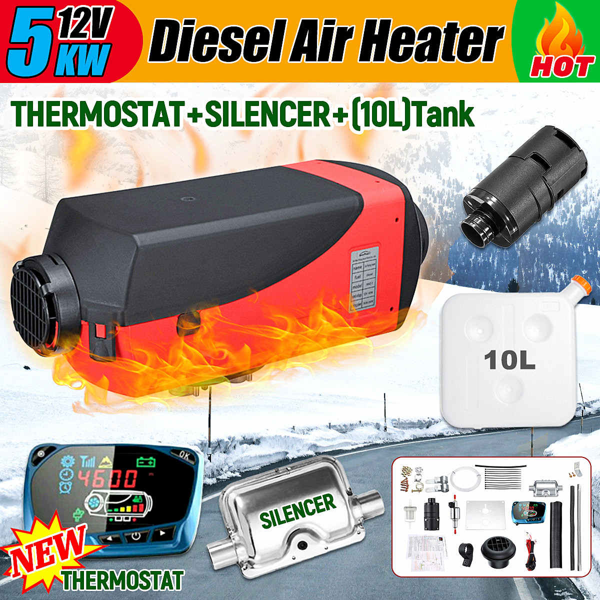 5KW 12V Air Diesel Fuel Heater Car Parking Heater Electric Heating Cooling LCD Monitor Thermostat for RV Boat 2 Holes 24v 150w 50x250mm silicone heater pad car fuel filter diesel heater 65 deg c with thermostat moldes de silicone electric heating