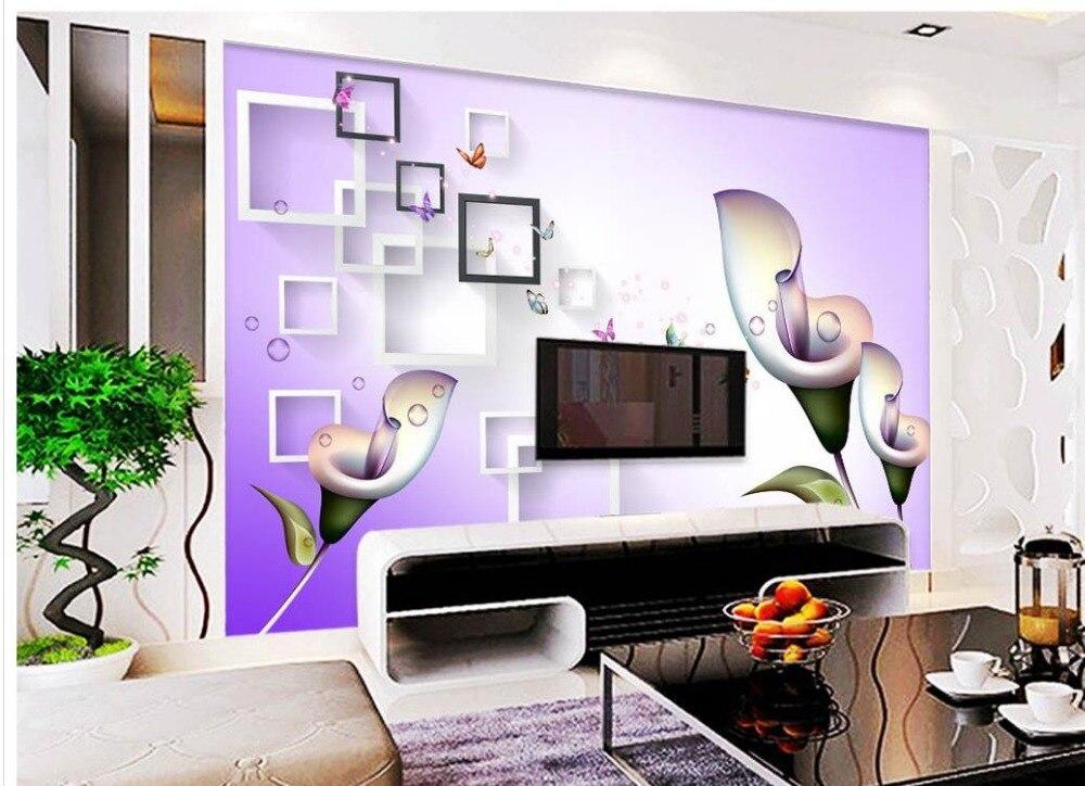 Tapetenwandbilder Blumen Lila Calla Individuelle Fototapeten 3D Stereoskopische Tapete Wohnzimmer TV Hintergrund WandChina
