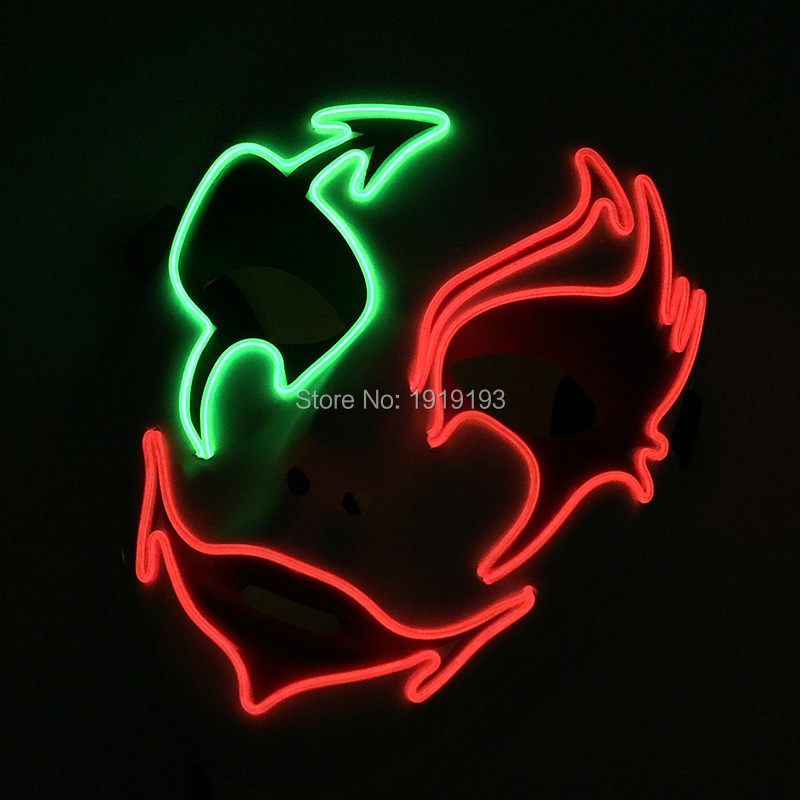 Cheap!Hottest Birthday Party Led Bulbs Colorful EL Lamp Wedding Mask Light Up Cold Light Sparkling Mask as Easter Day Bar Decor new arrival colorful neon led bulbs melbourne shuffle dance costume night lamp el wire bright ghost step suit for concert party