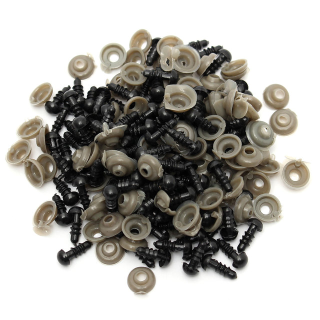 Wholesale Cheapest 100Pcs/50 Pairs 6mm Black Plastic Safety Eyes For Teddy Bear Stuffed Toys Snap Animal Puppet Dolls Craft