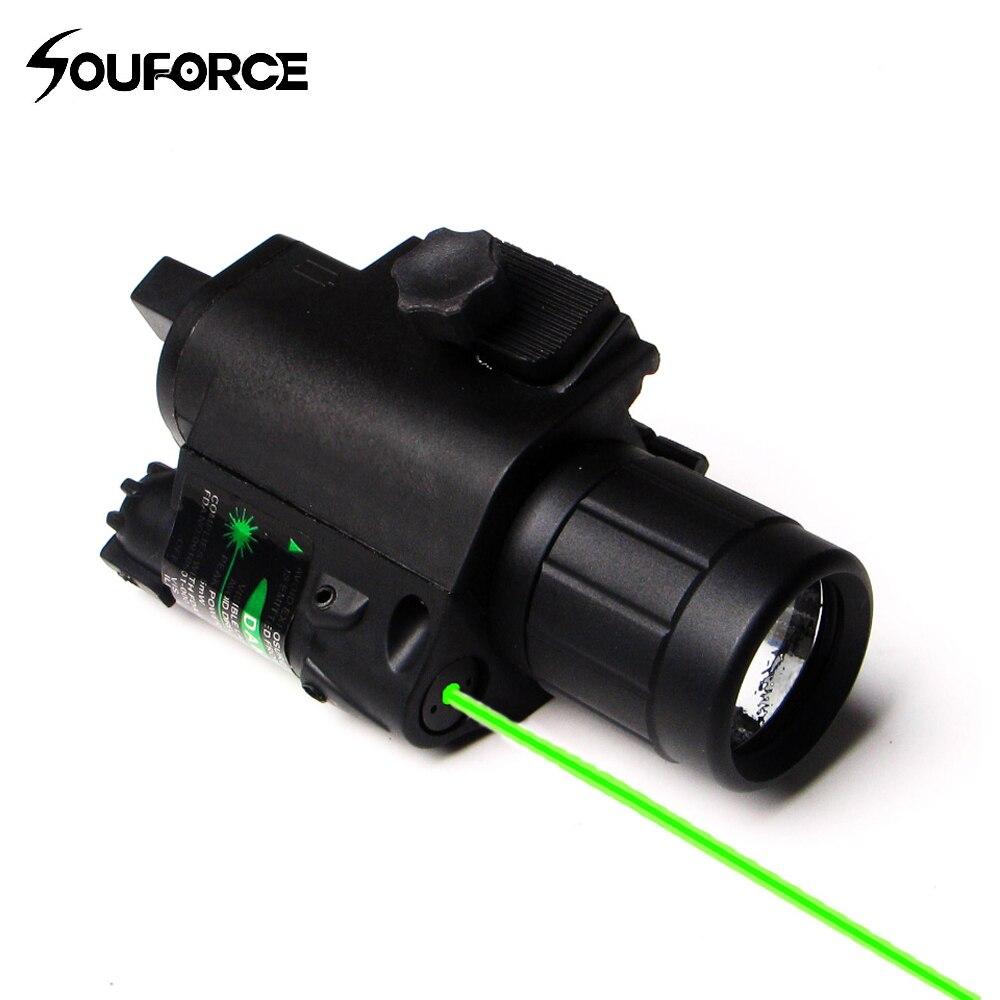2 dans 1 Combo Tactique Pulsé Vert Visée Laser avec 200LM LED Q5 lampe de Poche pour La Chasse Fusil et Pistolet Glock 17 19 22
