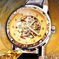 Famosa Marca de Lujo del Relogio masculino Correa de Cuero de Las Mujeres Vestido Rhinestone Reloj Mecánico Automático Auto Viento Esqueleto