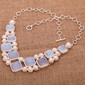 India Hot Opal Gem Geometric Necklace&Pendant Women's Silver Plated Necklace  SN5047