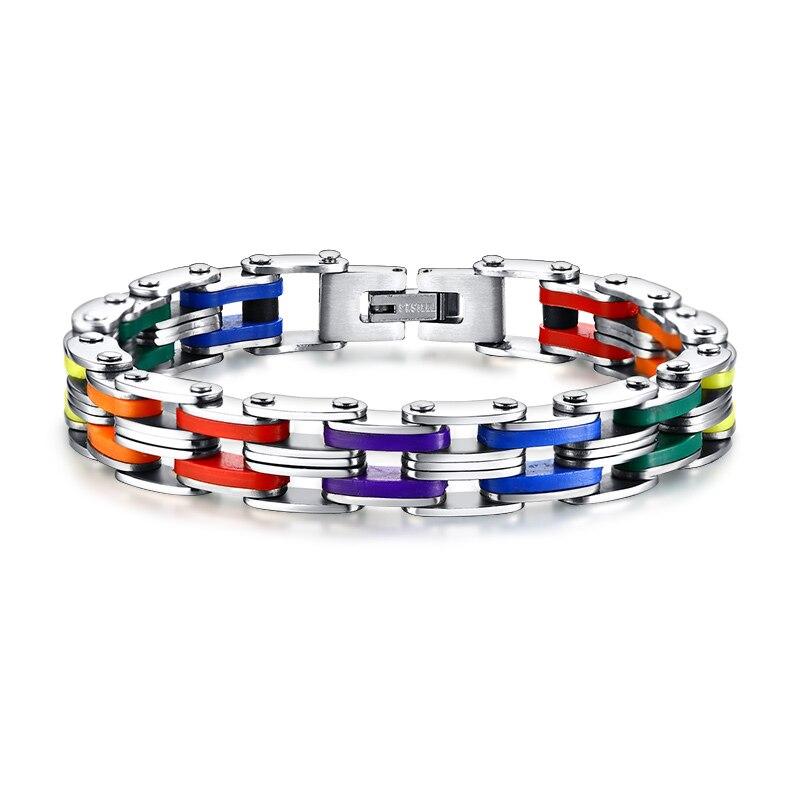 Silicona y acero inoxidable pulsera hombres brazalete de Color Arco Iris 316L de acero inoxidable Cierre de pulsera para hombres y mujeres