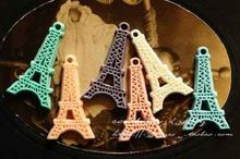 Free Shipping~!! 25*45mm Mixed Colors Europe resin Eiffel Tower Flat back resin cabochon flower,vintage plastic 100pcs(China)