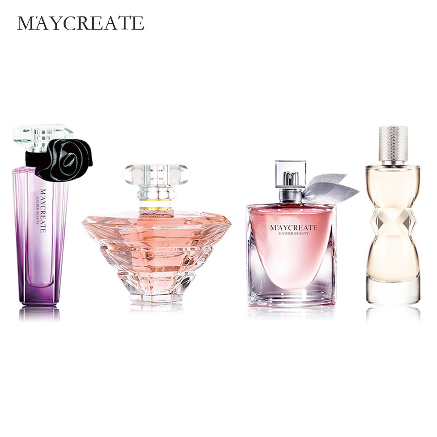 1Set 4Pcs Perfumed Women Perfumed Atomizer Bottle Glass Fashion Lady Female Parfum Long Lasting Flower Fragrance Perfumed