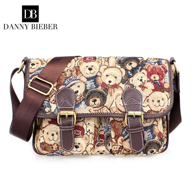 c17c6f137d DANNY BIEBER Women Bag Handbag New Fashion Women Messenger Bags Ms Leisure  Canvas Aslant Single Shoulder Bag with Bears Tobbinet
