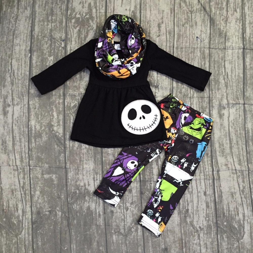 girls Winter outfits 3 pieces with scarf sets girls Halloween clothing children girl black top with ghost face outfits pants set halloween black long face ghost mask black red