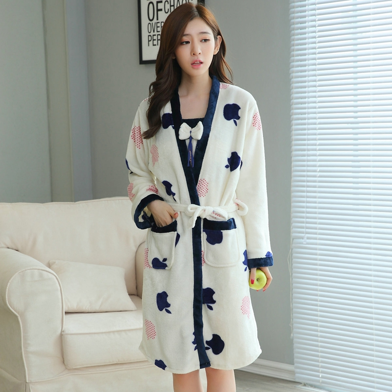 2PCS Sexy Thick Warm Flannel Robes Sets for Women 2018 Winter Coral Velvet Lingerie Night Dress Bathrobe Two Piece Set Nightgown 235