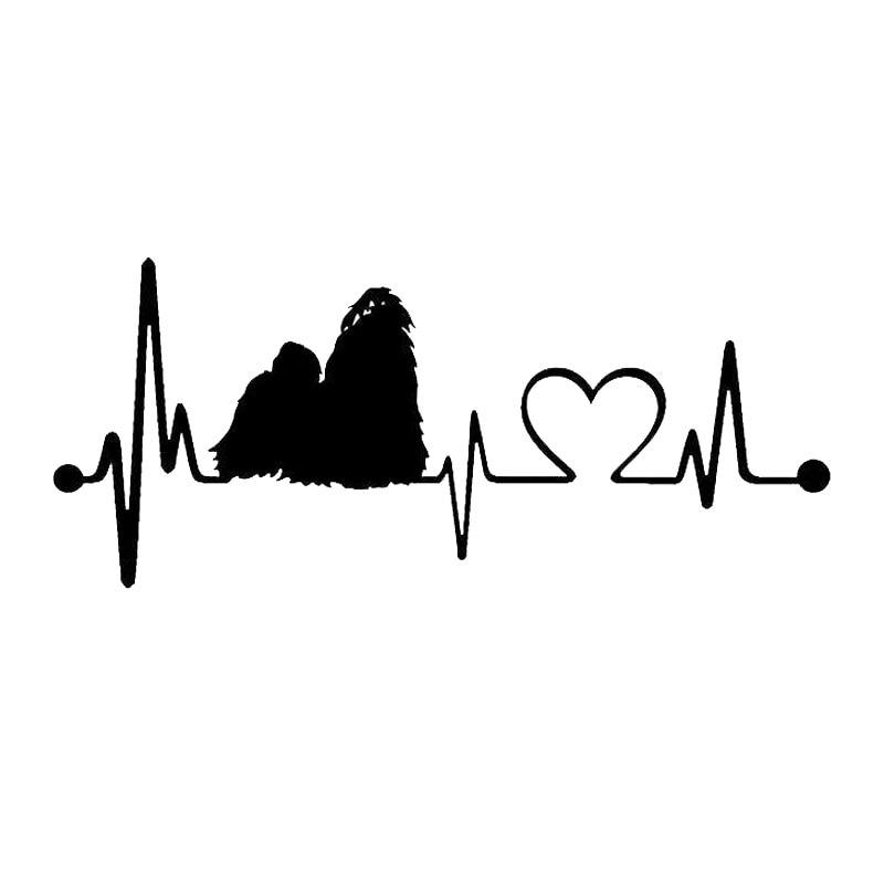 15*6.4CM Shih Tzu Heartbeat Lifeline Dog Car Styling Cute Animal Window Decorative Stickers Black/Silver C6-1143 japan imports midori planner calendar decorative stickers cute animal 5pcs