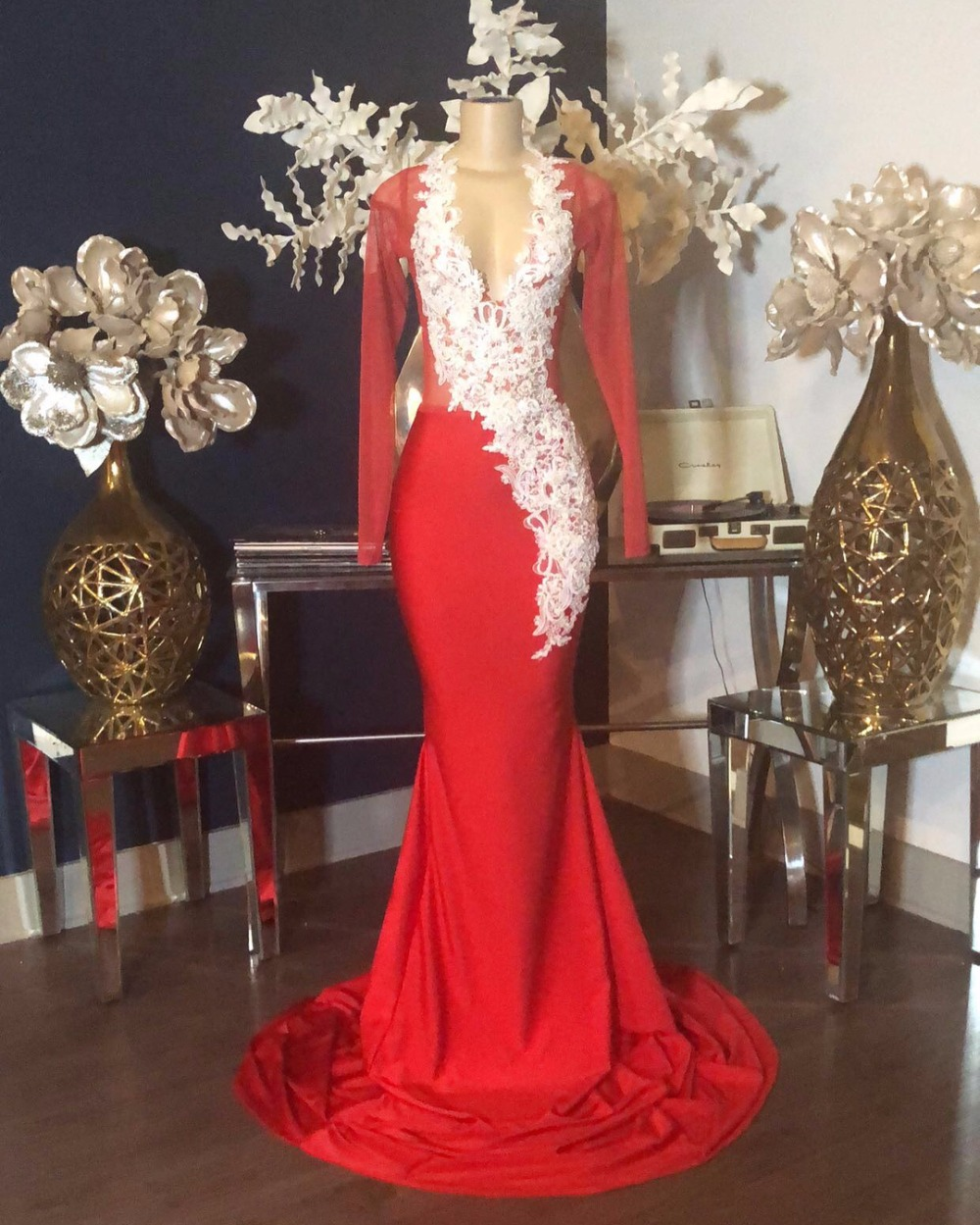 Elegant Red Mermaid   Prom     Dresses   2019 Deep V-neck White Beaded Appliques Lace See Through Top Long Sleeve   Prom     Dress