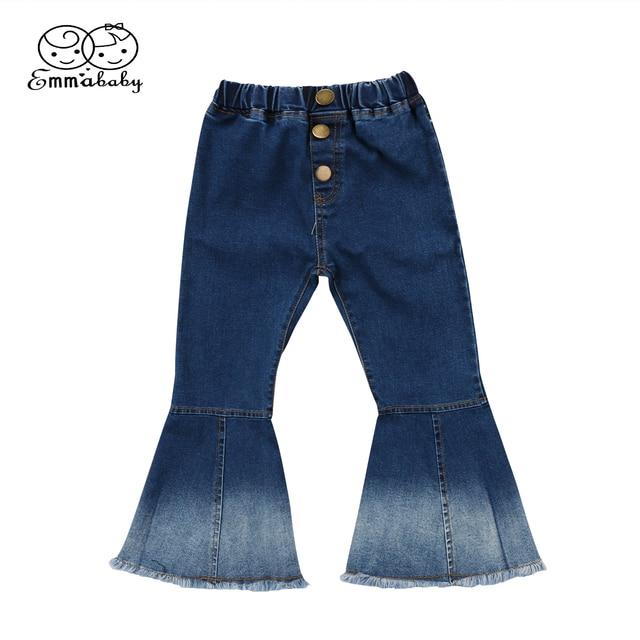 51f2d56db € 4.19 7% de DESCUENTO|Nueva de moda lindo chico flare jeans niño chico s  chica Bell Bottoms pantalones de pierna ancha, pantalones vaqueros ...