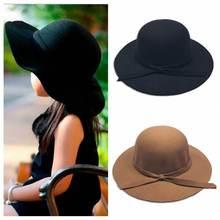 Осенне-весенняя фетровая шляпа для девочек, винтажная шерстяная фетровая шляпа с широкими полями, Детская широкополая пляжная шляпа с бантом