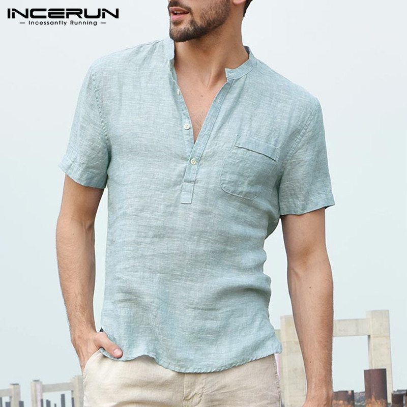 INCERUN Summer Men's Shirts Dress Short Sleeve Henley Collar V Neck Basic Button Loose Fit 3XL Masculina Chemise Comfortable