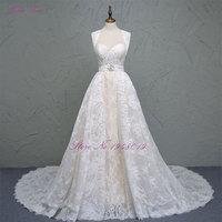 Julia Kui Robe De Mariage New Detachable A Line Wedding Dress Sweetheart Neck Cheap Lace 2 in 1 Bride Dresses