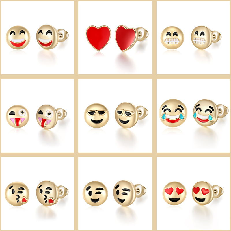 Sale 1Pairs Hot Fashion funny emoji earrings expression earrings lady cute earrings jewelry gifts