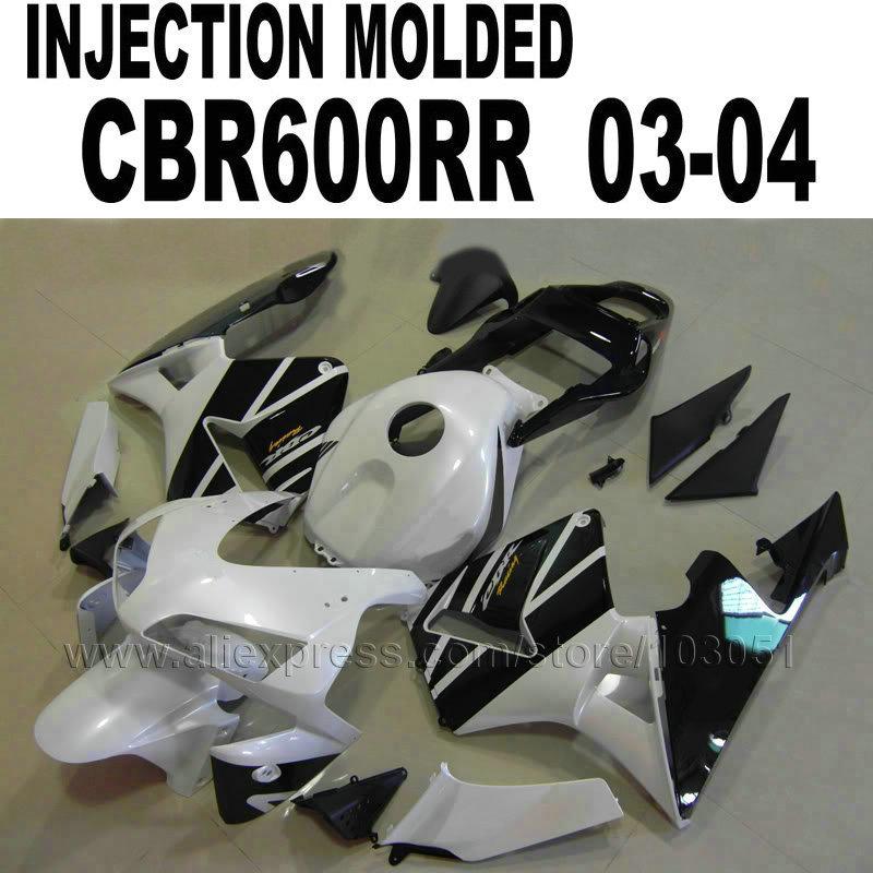 New Hot ABS Injection bodywork for Honda fairing kits  CBR600RR 2003 2004 CBR 600 RR 03 04 CBR 600RR black white fairings kit injection molded fairing kit for honda cbr600rr 03 04 cbr600 cbr600rr f5 2003 2004 green white black abs fairings set zq39