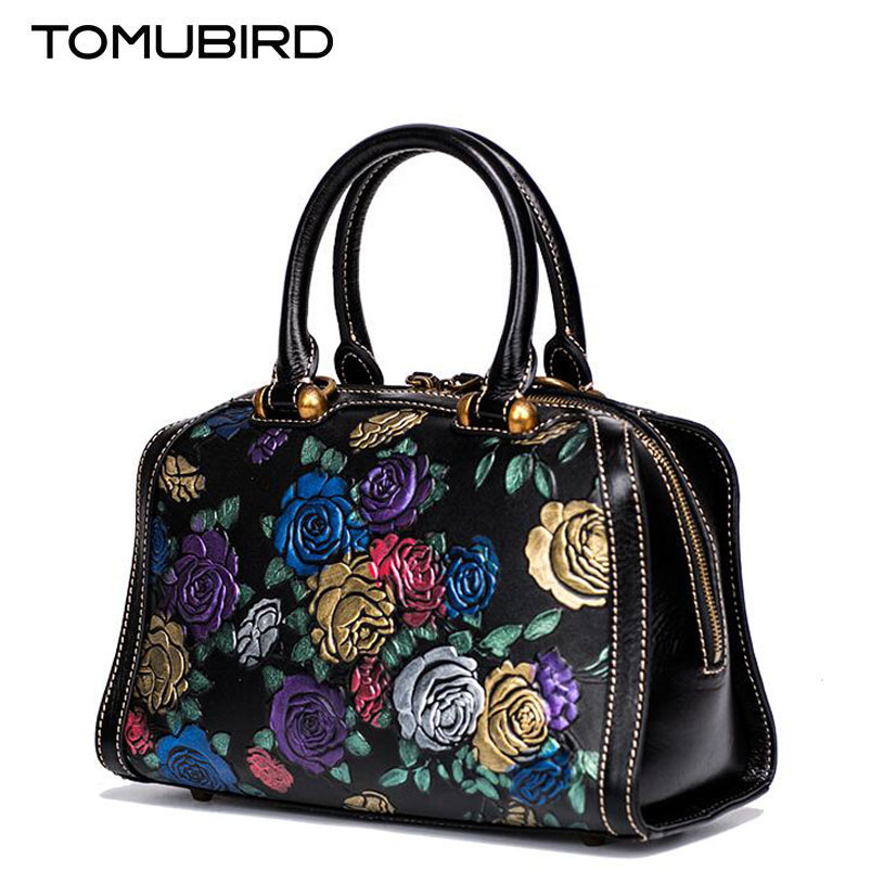 TOMUBIRD 2017 new superior leather designer brand embossing flower women bags fashion genuine leather handbags women tote bag 2018 new superior cowhide leather classic designer hand embossing top leather tote women handbags genuine leather bag medium bag