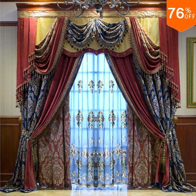 Ultimate ancient City Espaolas Barroco pattern curtains Blue Poseidon living room bedroom Curtain Red Dinning Room Movie Curtain