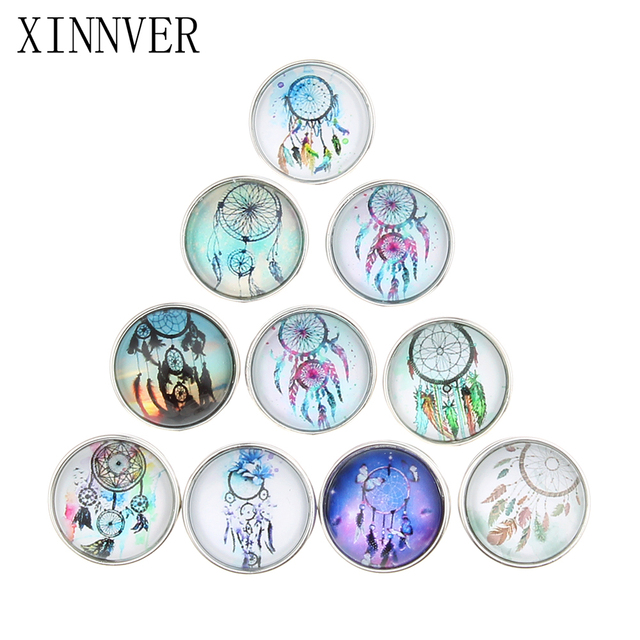10pcs/lot Mixed Styles Dream Catcher 18mm Glass Snap Button For DIY Snap Button