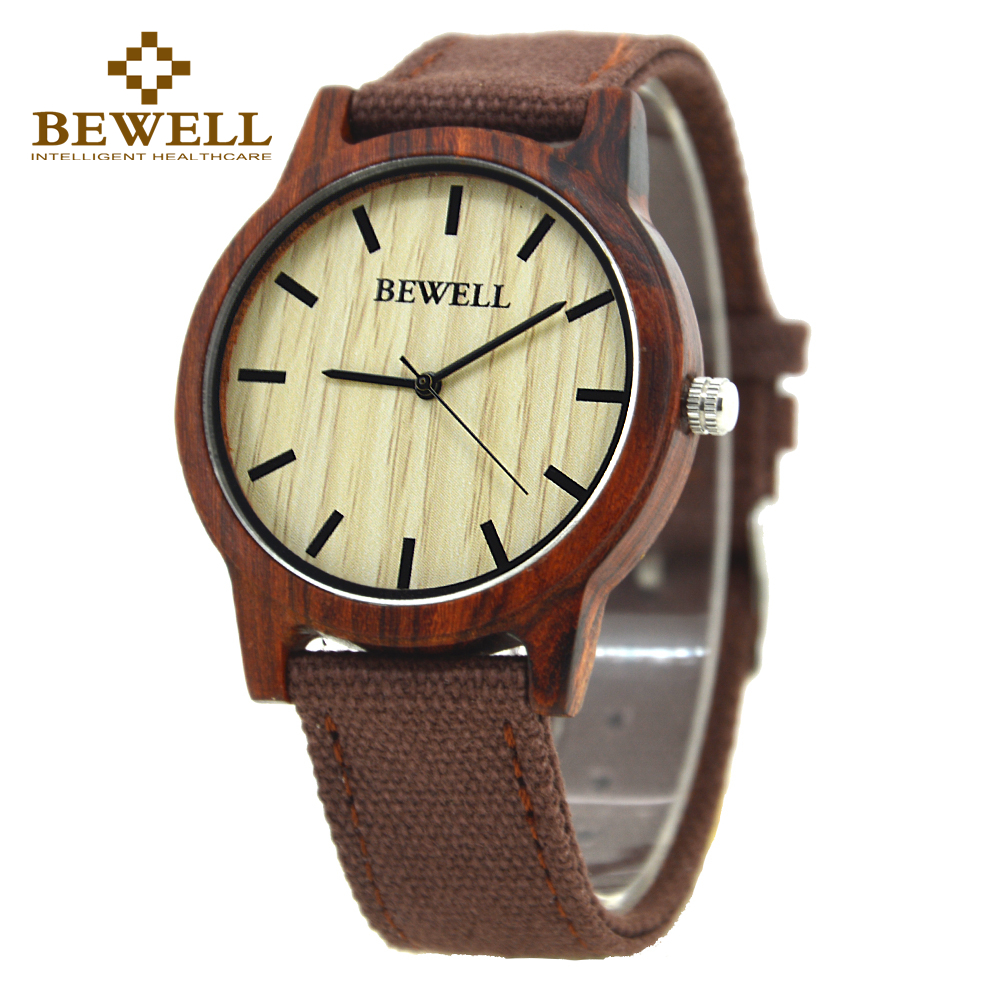 BEWELL NEW Casual Men's Bamboo And Ebony Wooden Watch Canvas Strap Quartz Analog Wrist Watches With Quality Import Movement 134A