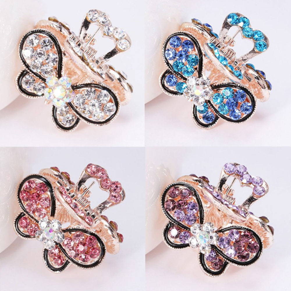 1PC Women Vintage Crystal Rhinestone Hair Accessories Mini Butterfly Crown Hairpins Hair Claws Hair Clips Barrettes   Headwear