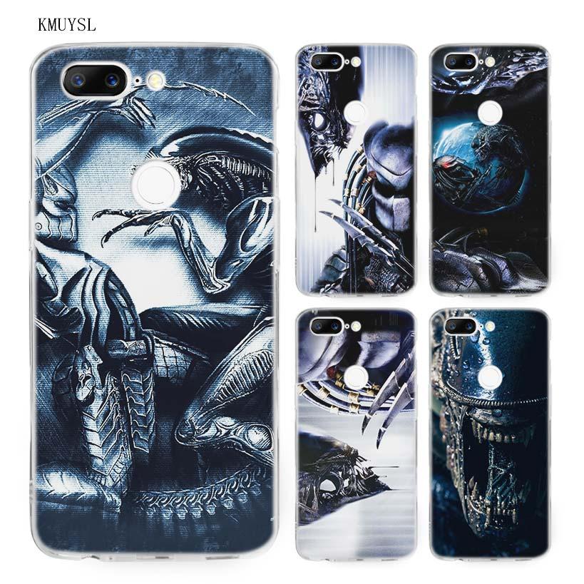 KMUYSL Alien vs Predator TPU Ultra Thin Transparent Soft Case Cover for One Plus Oneplus 5T 6
