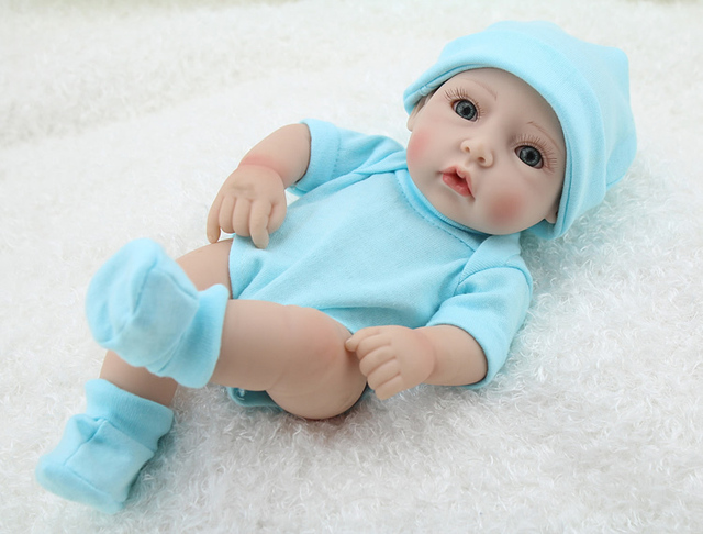 Full Silicone Baby Alive Doll 10 Inch Lying And Sitting Reborn Baby Doll Lovely Baby Boy Wearing Sweet Clothes Look Genius