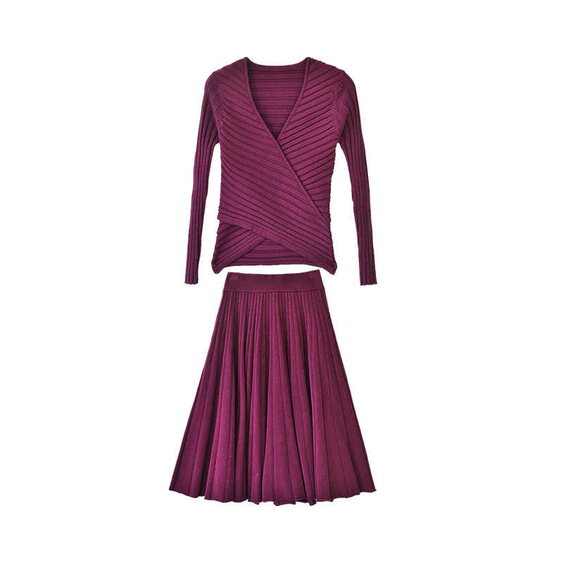 Dabuwawa, зимнее элегантное вязаное платье, костюмы для женщин, винтажные, вечерние, рождественские, розовые, фиолетовые, трапециевидные платья, комплект для девушек, леди DN1DSA016