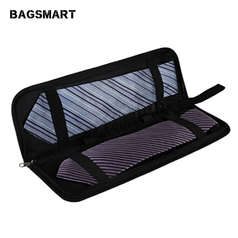 BAGSMART moške lahke črne najlonske kravato z zadrgo majhnim kravato torbico modne kravate torbe potovalne torbe