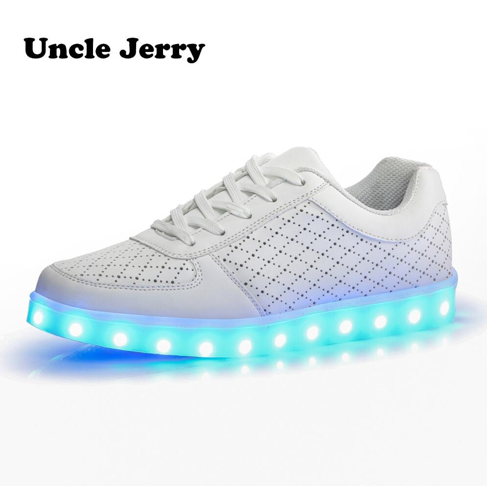 EUR 35-46 Spring Summer Sneakers Colorful LED Shoes for Children and Adults Breathable Casual Shoes White Glowing ShoesEUR 35-46 Spring Summer Sneakers Colorful LED Shoes for Children and Adults Breathable Casual Shoes White Glowing Shoes