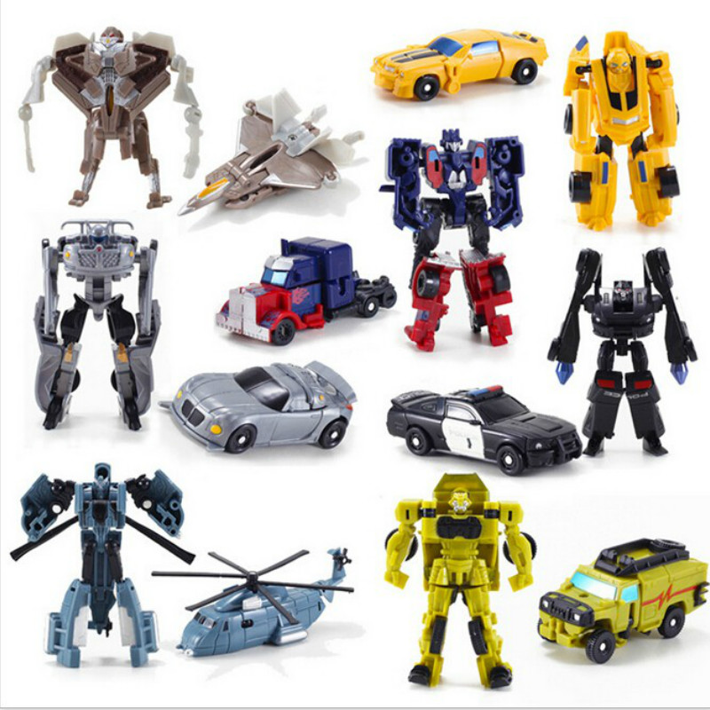 7 stk / sæt Ny Ankomst Mini Classic Transformation Plast Robot Biler Action Tal Ungdoms Uddannelse Legetøj Xmas Gaver Til Børn