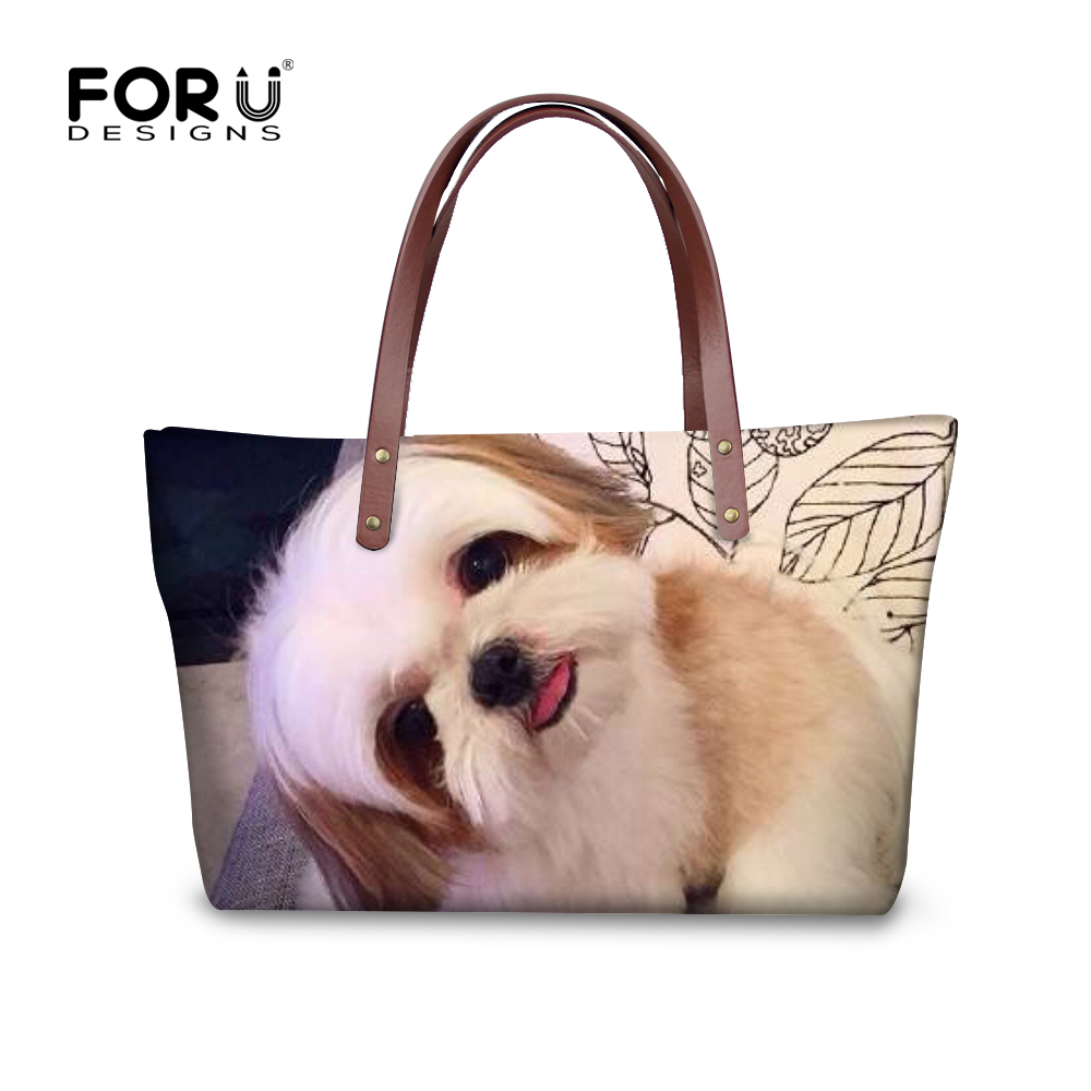 FORUDESIGNS Cute 3D Shih Tzu Dog Women Big Handbags For Ladies Messenger Bags Woman Casual Shoulder Tote Cross-body Bags Blosas
