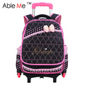 Designed For Princess Girl Build School Bag Heart-Shape Embossing Girl Trolley School Bag 2 Or 6 Wheels Wheeled Backpack